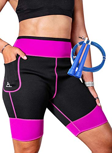 EDM - Pantalones Sauna para Mujer - Pantalones Neopreno Térmicos - Pantalón de Sudoración - Pantalones Cortos de Neopreno térmicos para Ejercicio - Mallas sudoración Mujer - Rosado S