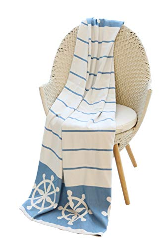 "Mika Home Nautical Reversible Cozy Bamboo Fiber Oversized Throw Blanket for Couch, Sofa, Travel, 50X70"", Blue, White"