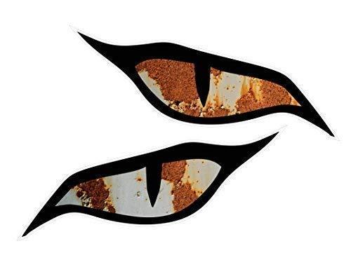 CT Design Paar Böse Augen Sticker Rat Look Rost Rostig Patina Motiv Vinyl Auto Motorrad Helm Aufkleber Je 70x30mm