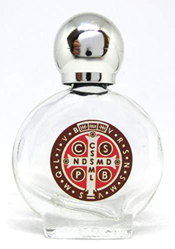 GTBITALY Croce di San bendetto Bottiglia bottiglietta in Vetro con Tappo Argento per Acqua Santa con Stampa UV Ultra violetti