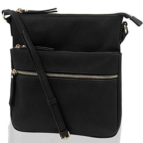 GOLD ANT Umhängetasche für Damen, leicht, mittelgroß, geräumig, PU-Leder, mit verstellbarem Riemen, (schwarz 1), Medium