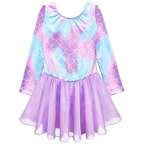 girls leotards dress purple 3t 4t ballet tutu skirt long sleeved dance outfit (Baby Girls/Toddler Girls/Big Girls) (S Long Sleeves Mermaid Purple, 110(3-4 years old))