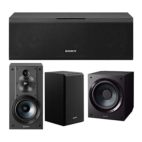 Sony SSCS5 3-Way 3-Driver Bookshelf Speaker System (Black) Bundle with Sony SACS9 10-Inch Active Subwoofer (Black), and Sony SSCS8 2-Way 3-Driver Center Channel Speaker (Black) (4 Items)