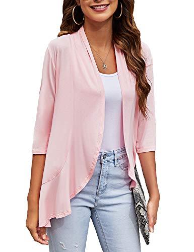 Bluetime Women Plus Size Sunmer Cardigan Solid Loose Casual Kimono 3/4 Sleeve Cardigan Dusters (S-3XL) (XXXL, Pink)