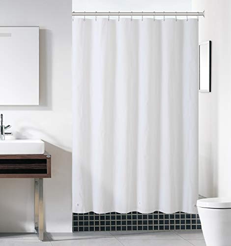 Hotel Collection Heavy Duty Mold & Mildew Resistant Premium PEVA Shower Curtain Liner with Rust Proof Metal Grommets - Assorted Colors (White)