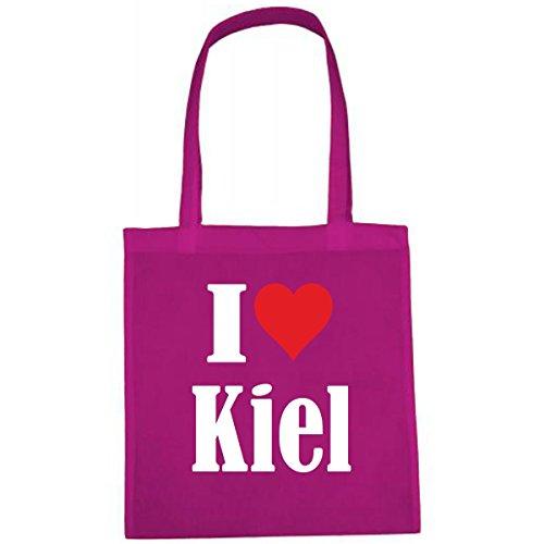 Tasche I Love Kiel Größe 38x42 Farbe Pink Druck Weiss