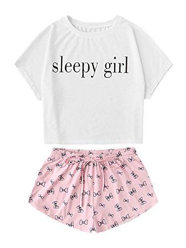 DIDK Women's Graphic Tank Top and Shorts Pajama Set White & Pink XS