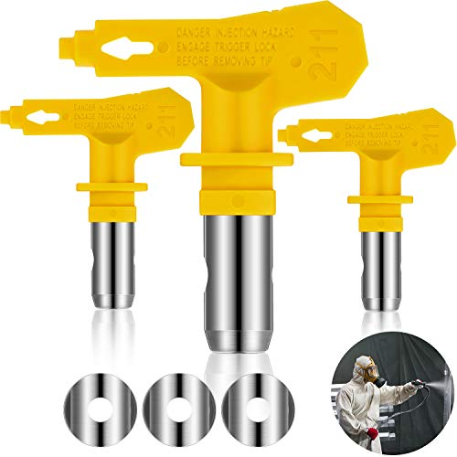 3 Pieces Reversible Airless Sprayer Tip Airless Paint Spray Guns and Airless Sprayer Spraying Machine Parts for Homes Buildings Decks or Fences (211)