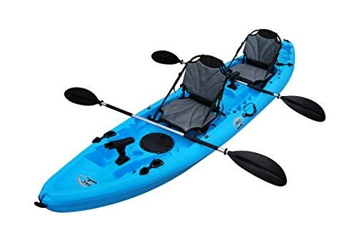 BKC Brooklyn Kayak Company UH-TK219-US 12.2-Foot Tandem Sit On Top Kayak 2 or 3 Person with 2 Paddles and Upright Seats and 6 Fishing Rod Holders Included (Pink)