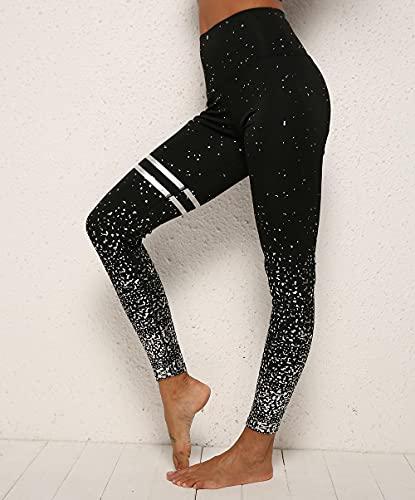ArcherWlh Yoga Pantalones,Pantalones de Yoga Golden High Cintura Sport Leggings para Mujeres Medias-Plata Caliente Negra_SG