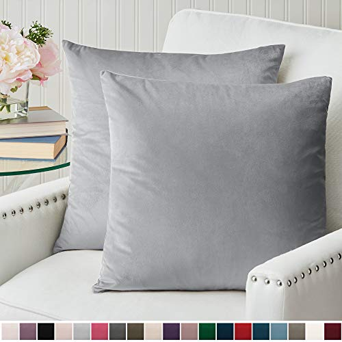 The Connecticut Home Company Luxurious Velvet Throw Pillow Cases, Set of 2 Decorative Case Sets, Square Pillow Covers, Soft Pillowcases for Living Room, Bedroom, Couch, Sofa, Bed, 18x18, Light Gray