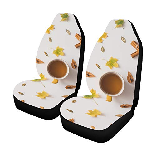 Best Bargain Universal Car Seat Covers Front Seats 2pc Autumn Leaves Pattern Coffee Tea Cup Vehicle ...