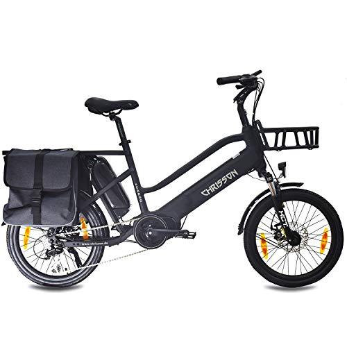 CHRISSON Bicicleta eléctrica de 20 pulgadas, color negro, con motor central Bafang MaxDrive de 250 W, 36 V, 80 Nm, rueda de carga para hombre y mujer, práctico transporte