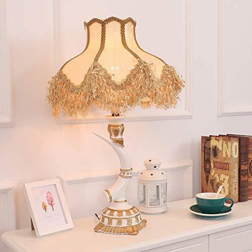 Hogreat Smart led Lámpara Retro Europeo Retro Dormitorio Creativo Lámpara de Noche Sala de Estar Lujo Estudio Americano Imitación Ivory Art Deco Lámpara de Mesa 40 * 69cm