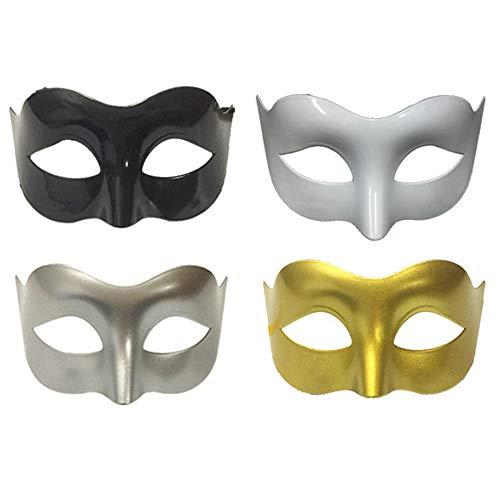 Limeow Herren Maske Kunststoff Maske Masquerade Masks Masquerade Masked Weiße Maske Mens Maskerade Maske Halloweenmaske Herren Maskerade Maske Schwarz Maskerade Maske(4 insgesamt)