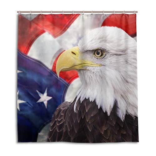 CPYang Duschvorhänge American USA Flagge Adler Wasserdicht Schimmelresistent Badevorhang Badezimmer Home Decor 168 x 182 cm mit 12 Haken