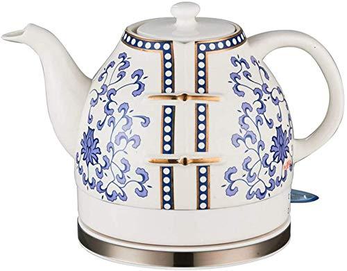 WCNMD Tetera inalámbrica de cerámica eléctrica Tetera inalámbrica Tetera Retro 1L Jarra, 1200W Agua Rápida para el té, Café, Sopa, Base extraíble de Avena, Base de seco de ebullición-Azul y Rojo, B