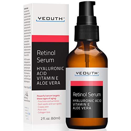 Retinol Serum 2.5% con ácido hialurónico, Aloe Vera, Vitamina E - Aumenta la producción de colágeno, Reduce arrugas, líneas finas - 1 oz - Yeouth (2oz)