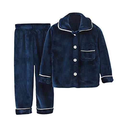 BaZhaHei 2-Teiliges Set Jungen Mädchen Feste Pyjamas Verdicken Winter Warme Mäntel Hosen Outfits Set Supersofter Leicht Flanell Schlafanzug Lang Nachtwäsche