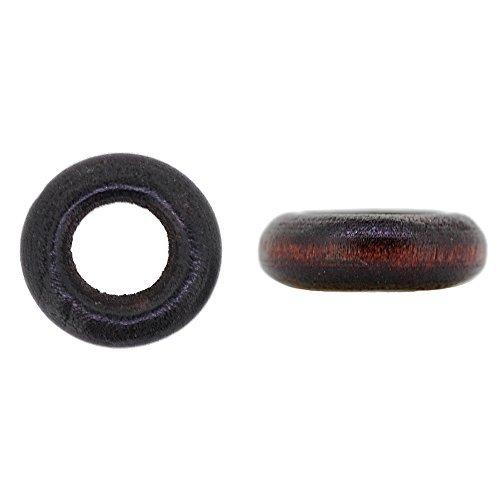 Perles bois / bague 12 mm Brun noir proche du brun noir en 10 pièces