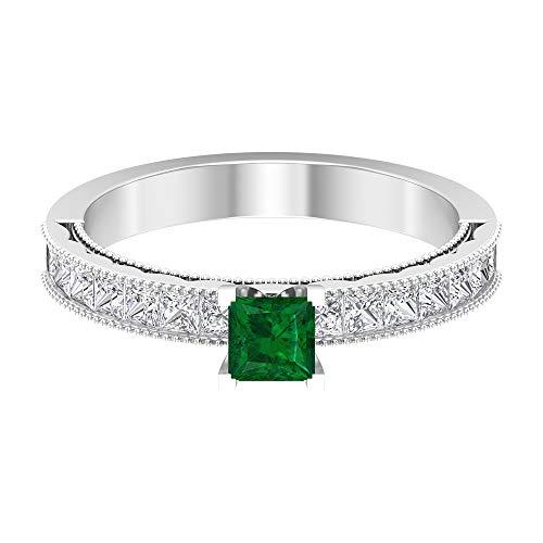 Anillo de corte princesa de 4 x 4 mm, anillo solitario de esmeralda de 1/2 quilates, anillo de diamante HI-SI, anillo milgrain de oro, 14K Oro blanco, Size:EU 49