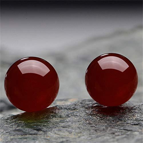 Weisin Pendientes de bola de jade artificial con piedras preciosas pendientes, pendientes esféricas, color rojo