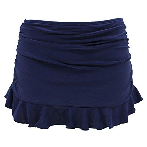SHEKINI Jupe de Bain Femme Bas De Maillot Jupette Bikini avec Shorts de Bain intégré et Volants froncés Summer Beach Bikini Skirt Bottom pour Femme Maillots De Bain (Large, Bleu foncé)