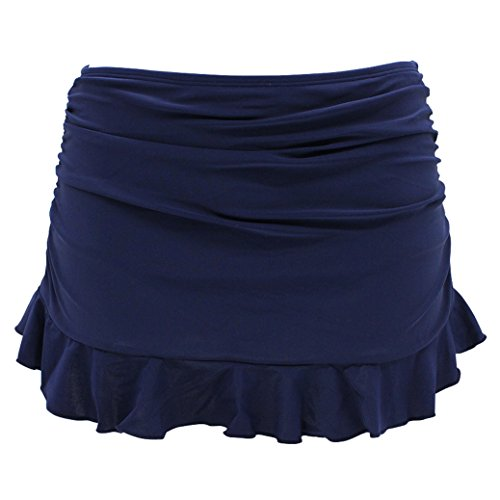 SHEKINI Swim Skirt Pezzo sotto Bikini Donna Gonna Briefs Vestito Nuotata Parte Inferiore Pantaloni Gonna con Pantaloncino da Nuoto Costumi da Bagno Ruched Gonna da Spiaggia (Medium, Blu Scuro)