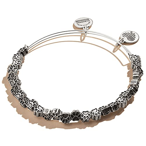 Alex and Ani Accents Paw Print Beaded Expandable Bangle for Women, Rafaelian Silver Finish, 2 to 3.5 in