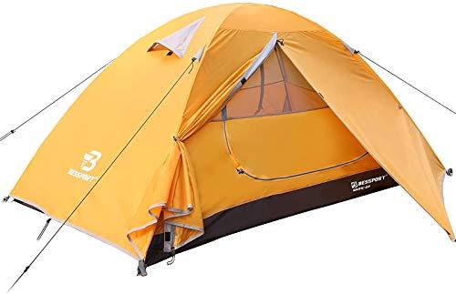 Bessport Tienda de Campaña 2 Personas Ligero con Dos Puertas A Prueba de UV/Viento Fuerte/Lluvia para Trekking, Campamento, Playa, Aventura, etc (Naranja)