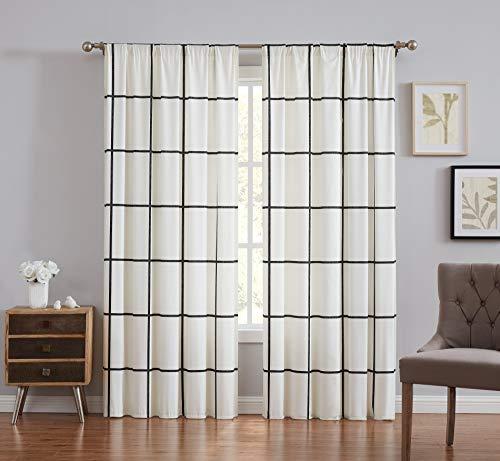 Truly Soft Everyday Kurt White Stripe Windowpane, Window Curtain, Ivory/Black