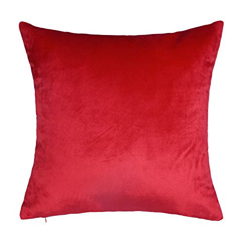 SUNOOMY Dekorativer luxuriöser Samt-Kissenbezug, quadratisch, für Sofa, Couch, Bett, Stuhl, Hellrot, 66 x 66 cm