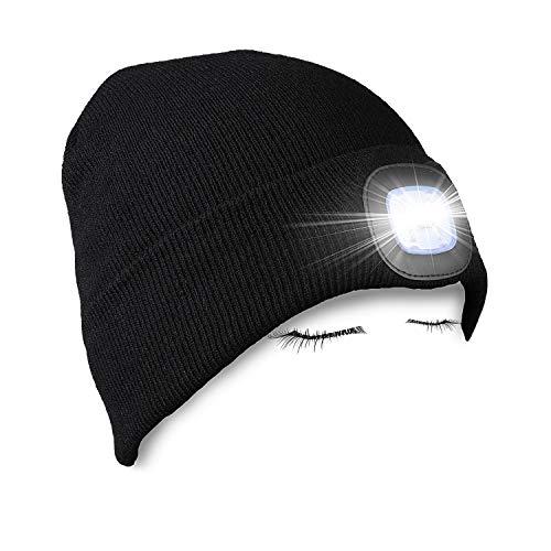 PRAVETTE LED beleuchtete Beanie-Mütze, wiederaufladbar über USB, Stirnlampe, Unisex, Winterwärmer, Strickmütze mit Licht für Herren und Damen M Schwarz