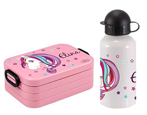 Mein Zwergenland Set Lunchbox Mepal Maxi Take A Break midi Brotdose und Alu-Trinkflasche mit eigenem Namen Nordic Pink, Einhorn Beauty