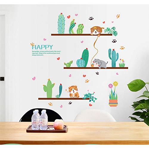 VIOYO trendy plant vaas Verdi Cuore Mouse kat muursticker kunst post muursticker voor woonkamer slaapkamer badkamer Decalcomania