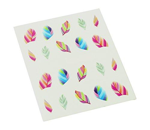 2x 10 Nagel Sticker Feder Nageldesign Dekoration Fingernägel Multicolor Bunt 3 D