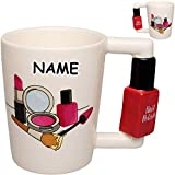 alles-meine.de GmbH 4 Stück _ 3D Effekt _ Henkeltassen / Kaffeetassen - Nagellack & Lippenstift - inkl. Name - groß - 270 ml - Keramik / Porzellan - Teetassen - Trinktassen mit H..