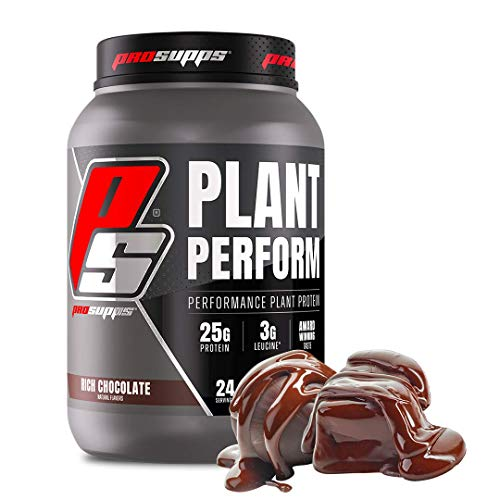 ProSupps Plant Perform, Best Tasting Performance Plant Protein, Rich Chocolate, 24 Servings. High in BCAAs, Fortified with Leucine. Contains NO Gluten or Soy