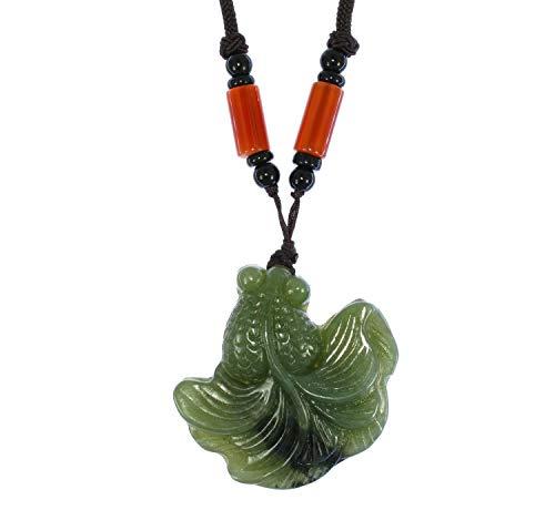 JL 3778 Pendentif en Jade de Chine en Forme de Poisson sculpté à la Main Certifié Naturel Héviti