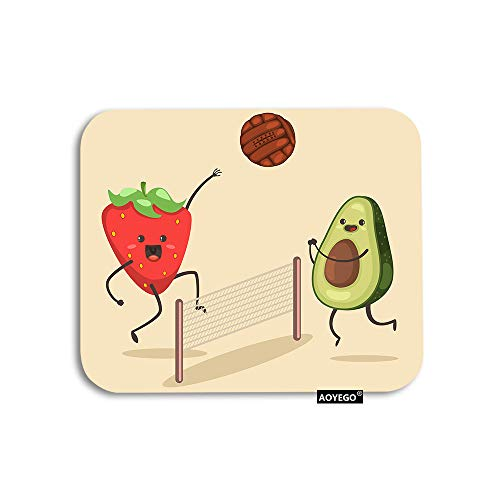 AOYEGO Fruit Mouse Pad Summer Sport Funny Avocado Strawberry Playing Beach Volleyball Gaming Mousepad Rubber Large Pad Non-Slip for Computer Laptop Office Work Desk 9.5x7.9 Inch