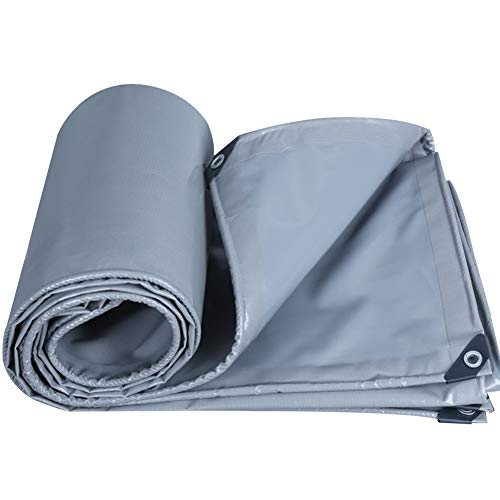 KKJKK Tarpaulin Waterproof Heavy Duty Builders Ground Sheet Tarp Sheet Cover Camping Tent for Furniture Caravan Truck Garden Pool,Gray,5x5m