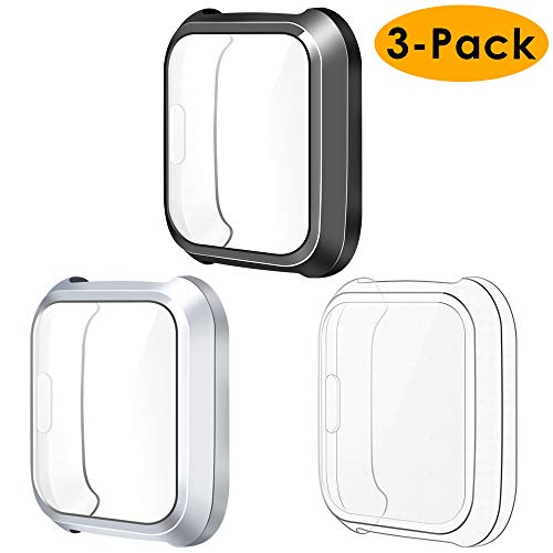 NANW Screen Protector Case Cover Compatible with Fitbit Versa Lite Edition (3-Pack), All-Around Screen Protective Screen Case Bumper Cover Soft TPU Plated Case, (NOT for Fit bit Versa Smartwatch)