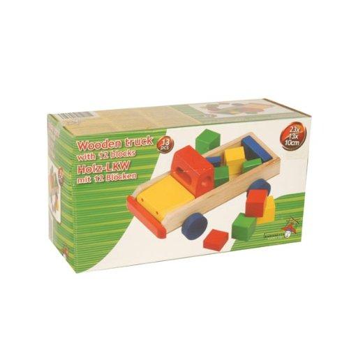 Marionnette Wooden Toys - 35332 - Radio Commande - Véhicule Miniature - Camion en Bois et Blocs x13 - 23x13x10 cm