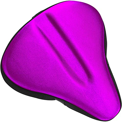 Bikeroo Large Bike Seat Cushion - Wide Gel Soft Pad Most Comfortable Exercise Bicycle Saddle Cover for Women and Men - Fits Spin and Stationary Bikes