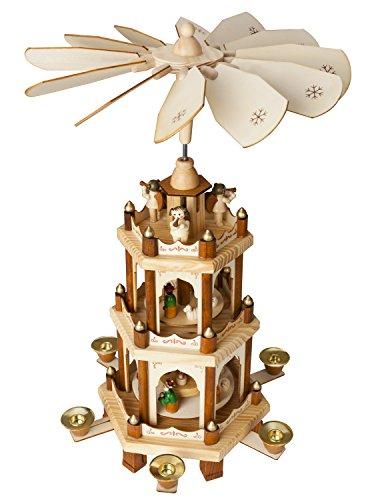 Brubaker Weihnachtspyramide Holzpyramide - Natur - 3 Etagen - 45 cm Höhe - handbemalte Figuren