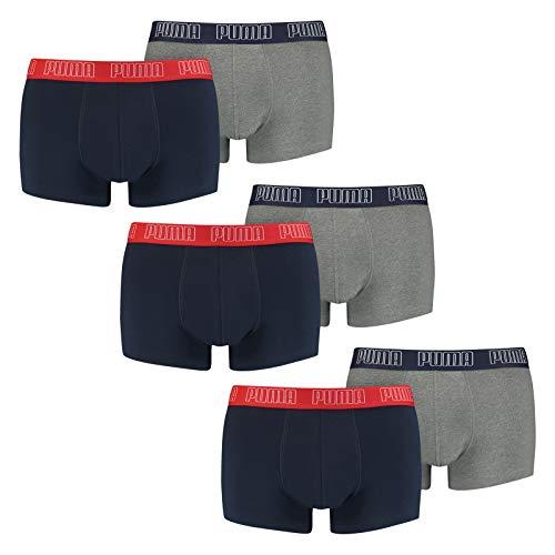 PUMA Herren Basic Trunk Boxershort 6er Pack Blue / Grey Melange (006) Größe:L