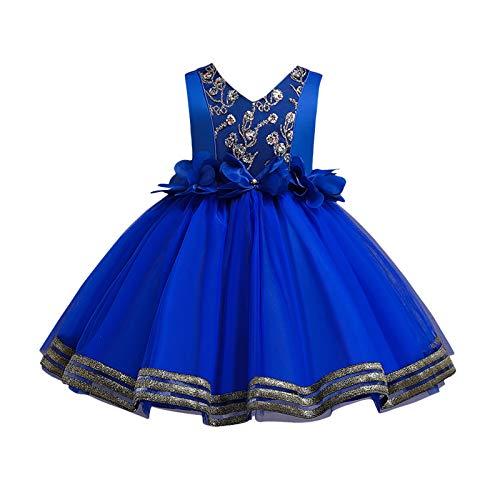 BOIYI Disfraz de Princesa Chicas Fancy Vestido de Flor Princesa Flor Desfile de Nios Vestido de Cosplay de Carnaval, Halloween y la Fiesta de Cumpleaos Vestidos Vestido de Fiesta(Azul Oscuro,100)