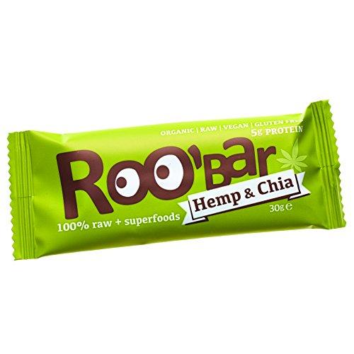Roobar Barritas Raw Biológica de Fruta, Nueces y Proteína de Cáñamo - 20 Barras