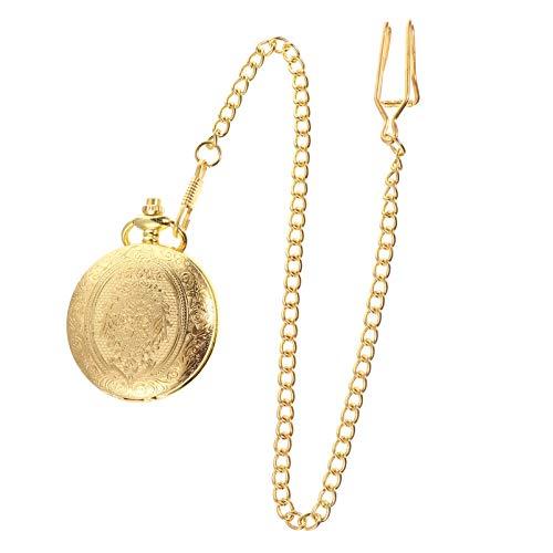 Relógio de bolso retrô masculino NICERIO, vintage, esculpido, de quartzo, com corrente dourada