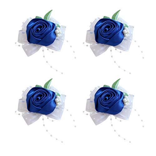 Ramillete de Muñeca, Flor de Mano de Dama de Honor Hecha a Mano de Ramillete de Muñeca 4pcs para
